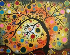 -ORIGINAL CUSTOM PAINTING-Folk Art,Black Birds,Tree Art,Whimsical, Tree Of Life