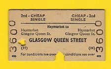 Railway Ticket - BR(H) 2nd Cheap Single - Haymarket to Glasgow Queen St - 1968