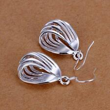 Hot Womens Fashion Corrugated Silver Plated Ladies Jewelry Earrings+New Gift Box