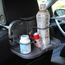 Car Back Seat Folding Food Bottle Cup Drink Tray Mount Holder Table Stand Black