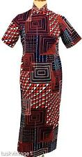 VINTAGE 60s CHEONG SAM red navy GEOMETRIC squares triangles silky MAXI dress 8