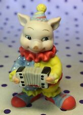 1994 BC Pig Clown Figurine Playing Accordion Sri Lanka Bisque Porcelain Bronson
