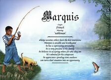 African-American Fishing Boy Personalized Poem Print for a Birthday Gift