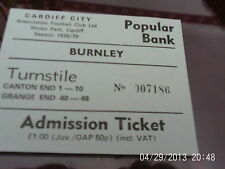 ticket cardiff city v burnley 1978 79 popular bank mint condition