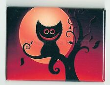 METAL MAGNET Image Of Halloween Black Cheshire Cat In Tree Moon Cats MAGNET X