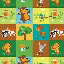 Fabric Woodland Animals Patchwork Square Blocks on Flannel by the 1/4 yard BIN