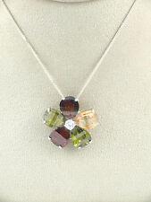 Sassi PE3659M Ladies 925 Sterling Silver 4 Colour CZ Flower Pendant & 18'' Chain