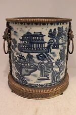 Beautiful Blue and White Blue Willow Round Crackle Porcelain Pot Brass Ormolu