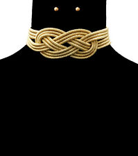 HOT Celeb Statement Gold Knotted Layered Choker Necklace Set By Rocks Boutique
