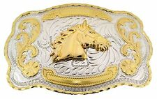 Horse Head Western Cowboy Rodeo Gold Large Belt Buckle Men Women Cowgirl Texans.