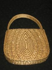 """Ann Taylor Small Mustard Yellow Gold Beaded Evening Bag 2"""" D and 6"""" H"""