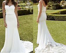 Sexy Beach Wedding Dress Spaghetti Straps White Ivory Lace Bridal Gown Size8 10+