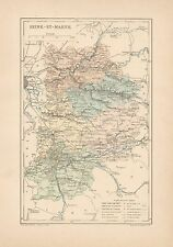 C9074 France - SEINE-ET-MARNE - Cartina geografica antica - 1892 antique map