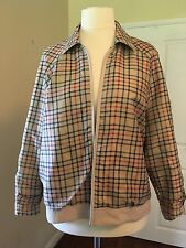 Women's Beige Long Sleeve Reversible Jacket. Size 18. Checked pattern interior