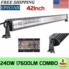 42in 240W LED Work Light Bar Spot Flood Combo Offroad ATV Jeep 4WD Lamp 12V 24V
