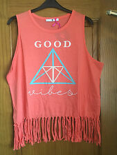 Coral fringed top 'Good Vibes' -  PLUS SIZE 24 - BNWT  Festival/beach/summer