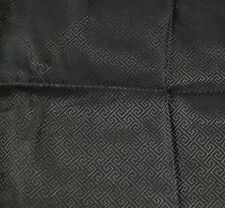 "Silk BROCADE Fabric BLACK GREEK KEY 11""x15"" remnant"