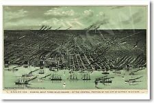 Birds Eye View of Detroit 1889 - NEW Vintage World Travel Map POSTER