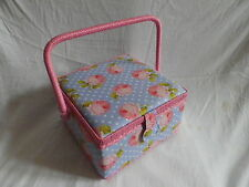 LUXURY MEDIUM SQUARE PINK ROSE FABRIC COVERED SEWING BASKET / WORK BOX. NEW