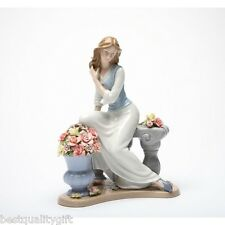"8 7/8 ""TALL HANDMADE FINE PORCELAIN GIRL AT ELEGANT SERENADE FIGURINE-NAIS-10111"