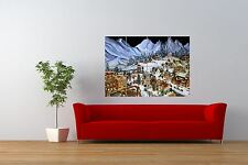 PHOTO CHRISTMAS FESTIVE VILLAGE MODEL MOUNTAINS GIANT ART PRINT POSTER NOR0876