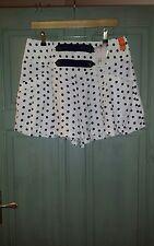 Womens BNWT Riverisland Polkadot Cream Blue Shorts 12 Pin Up 50s Sailor £21.99