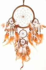 NEW BROWN DREAM CATCHER HANDMADE W/ LEATHER & FEATHER CAR WALL DECOR