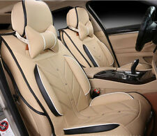5 Seat Full Surround Ice Silk Leather Car Seat Cushion Cover For All Car Beige