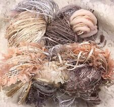 Art Yarn hand dyed 150 yds hand tied multi fibers neutral Ombre' shawl knitting