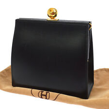 Authentic HERMES Logos Clutch Hand Bag Black Box Calf France Vintage NR09442a