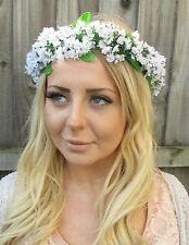 White Gypsophila Baby's Breath Flower Hair Crown Garland Headpiece Headband V82