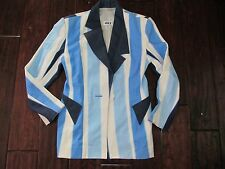 60s 70s Vintage Blazer Suit Jacket Funky Pimp Coat Top Stripe Blue VTG Mens XS/S