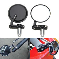 "3"" Round 7/8"" Handle Bar End Foldable Black Mirrors Cafe Racer Chopper Bobber"