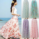 BOHO Beach Chiffon Floral Long Maxi Skirt Asymmetrical Full Circle Party Dress