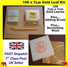 100 24K Genuino Hojas De Hoja De Color Dorado para Uñas Pincel Manualidades Diseño Dorado
