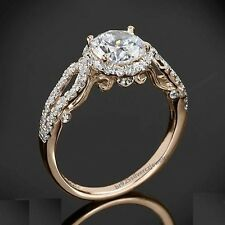 18K Rose Gold Halo Style Diamond Engagement Wedding Ring Vintage Design