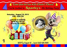 CHUCK E CHEESE CUSTOM PRINTABLE BIRTHDAY PARTY INVITATION & FREE THANK U CARD