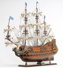 """Soleil Royal French Navy Tall Ship Assembled 28"""" Built Wooden Model Boat New"""
