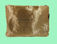 BCBGMAXAZRIA Gianna Bugle-Beaded Gold Satin Foldover Bag Msrp $168.00