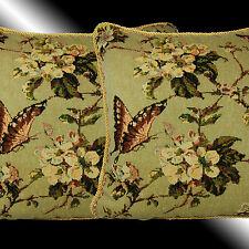 """2X VINTAGE BUTTERFLY TAPESTRY BOTH SIDES THROW PILLOW CASES CUSHION COVERS 17"""""""