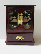 CHINESE GLOSS LACQUER & CORK PICTURE 2 DOOR JEWELLERY BOX