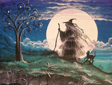 Folk Art Halloween WiTcH Walking Black Cat Full Moon Byrum Print
