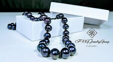 "NATURAL 9-10MM AAA TAHITIAN BLACK PEARL NECKLACE 18"" - FREE SHIPPING - 70% OFF"