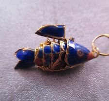 Cloisonne Articulated Mini Wiggle Fish Charm Pendant Royal Blue 1pc