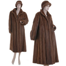 LKNW! Large! Beautiful Real Sable Brown Mink Fur F/L Coat w/Free Hat