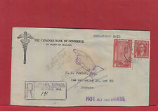 Returned to Writer NOT AT ADDRESS Registered bank Canada cover 1941