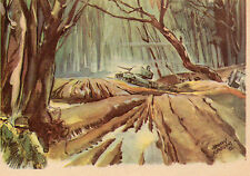 Germany WWII coloured PC from painting of a Panzer in Kolodesy forest Unused