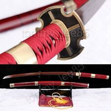 Sandai Kitetsu Katana Roronoa Zoro Sword Red Damascus Clay Tempered Sharp Blade