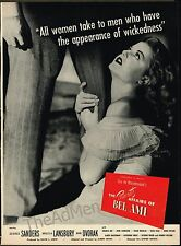 "1947 ""THE PRIVATE AFFAIRS OF BEL AMI"" ANGELA LANSBURY LAMINATED  MOVIE AD ART"