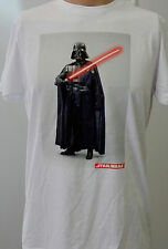 White Star Wars Darth Vader with Light Saber Medium T Shirt Gift for Him